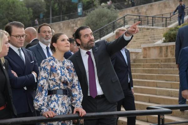 الحريري يجول في وسط بيروت برفقة ولية عهد السويد