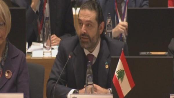 الحريري في مؤتمر بروكسل: الحكومة تلتزم أي مبادرة تضمن العودة الآمنة لهم