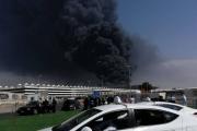 حريق هائل يوقف الرحلات بمحطة قطار الحرمين في جدة